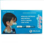 Mascara Cirúrgica Dupla Camada com Filtro - Infantil Azul C/50