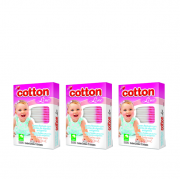 Cotton Line Hastes Flexíveis Baby Care - 3 Cxs. 75 Unidades cd.