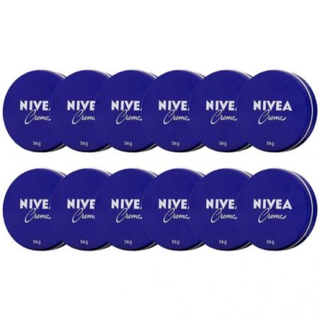 Creme hidratante Nivea para todos tipos de pele protege e combate rugas e ressecamento 12x latas 56g