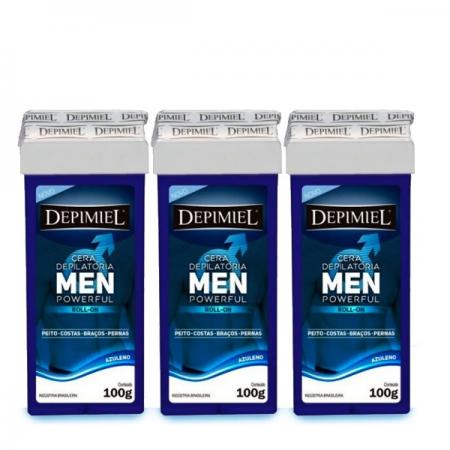 Depimiel Cera Depilatória Roll-on Men Powerful 100g 3 Unidades