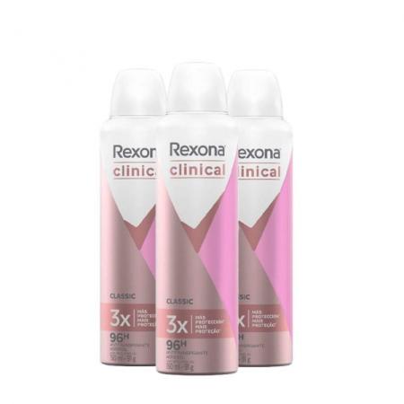 Desodorante Aerosol Rexona Clinical Feminino Classic 150ml 3 unidades