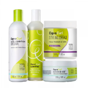 Deva Curl Shampoo Low-Poo+Condicionador One Condition 355ml+Heaven in Hair Tratamento 250ml+Creme Modelador 500ml