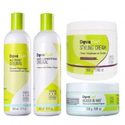 Deva Curl Shampoo No-Poo+Condicionador One Condition 355ml+Heaven in Hair Tratamento 250ml+Creme Modelador 500ml