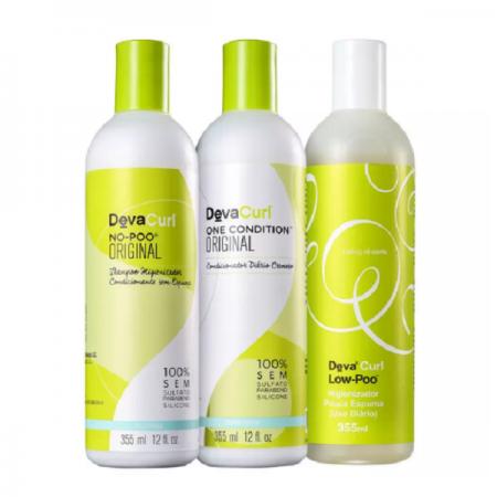 Deva Curl Shampoo No-Poo+Shampoo Low-Poo+Condicionador One Condition 355ml