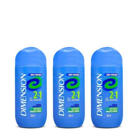 Dimension 2 em 1 Shampoo e Condicionador com Sais Minerais 200ml 3 Unidades
