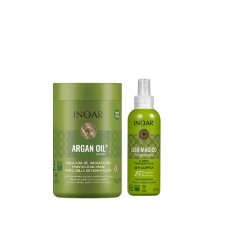Inoar Argan Oil System - Máscara 1Kg+Liso Mágico Progressivo 200ml