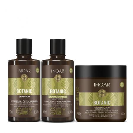 Inoar Botanic Oleo de Ricino Shampoo+Condicionador 300ml+Mascara 500g