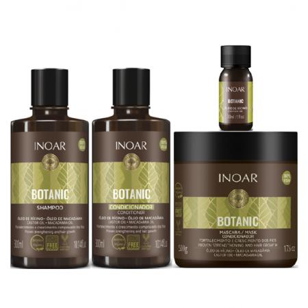 Inoar Botanic Oleo de Ricino Shampoo+Condicionador 300ml+Mascara 500g+Castor Oil 30ml