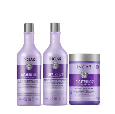 Inoar Cicatrifios Loiro Perfeito Matizador Shampoo+Condicionador 800ml+Mascara 800g
