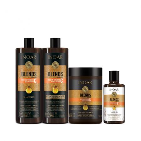 Inoar Coleção Blends Shampoo+Condicionador 1L+Mascara 1Kg+Leave-in 300ml