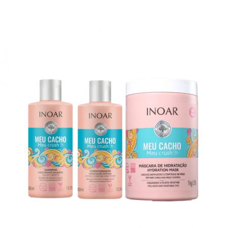 Inoar Meu Cacho, Meu Crush Shampoo+Condicionador 400ml+Mascara 1Kg