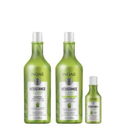 Inoar Résistance Fibra de Bambu Shampoo+Condicionador 1L+Leave-in 250ml