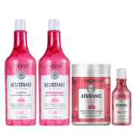 Inoar Résistance Flor de Lótus Shampoo+Condicionador 1L+Mascara 1Kg+Leave-in 250ml