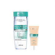 L'Oréal Paris 5 em 1 Efeito Matte Agua Micelar 200ml+BB Cream Média FPS 50 30g