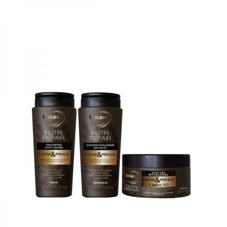 Lacan Anti-Idade Caviar & Perolas Nutri Repair - Shampoo+Condicionador 300ml+Mascara 300g