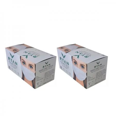 Mascara Cirúrgica Descartável Tripla Ryan - 2 Un. C/50 cd.