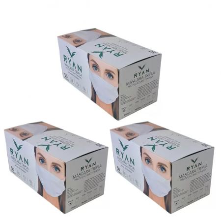 Mascara Cirúrgica Descartável Tripla Ryan - 3 un. C/50 cd.