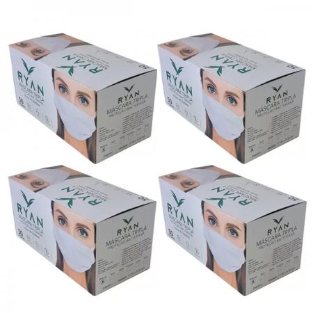 Mascara Cirúrgica Descartável Tripla Ryan - 4 un. C/50 cd.