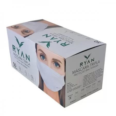 Mascara Cirúrgica Descartável Tripla Ryan - Caixa 50 Unidades