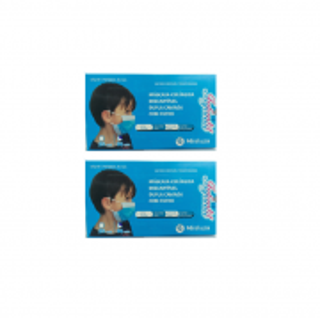 Mascara Cirurgica Dupla Camada com Filtro - Infantil Azul 2 un. C/50 cd.