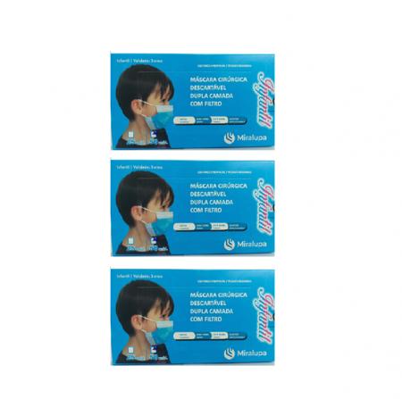 Mascara Cirurgica Dupla Camada com Filtro - Infantil Azul 3 un. C/50 cd.
