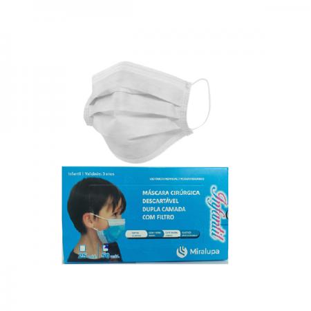 Mascara Cirurgica Dupla Camada com Filtro - Infantil Azul e Branca 2 un. C/50 cd.
