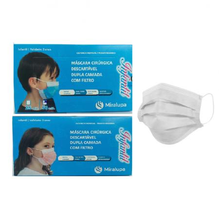 Mascara Cirurgica Dupla Camada com Filtro - Infantil Azul, Rosa e Branca 3 un. C/50 cd.