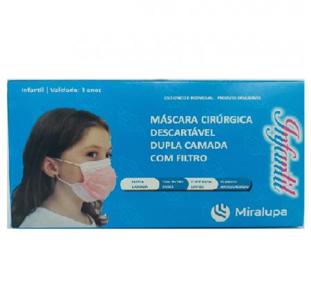 Mascara Cirúrgica Dupla Camada com Filtro - Infantil Branca C/50