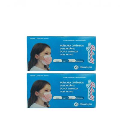 Mascara Cirurgica Dupla Camada com Filtro - Infantil Rosa e Branca 2 un. C/50 cd.