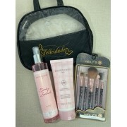 Necessaire c/ Giovanna Baby Classic Loção Hidratante 200ml+Body Splash 260ml+Kit Pinceis C/5 Meily's