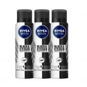 Nivea Desodorante Antitranspirante Aerosol Invisible for Black & White 150ml - 3 Unidades