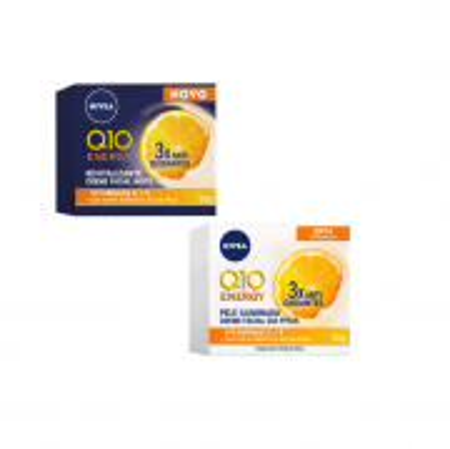 NIVEA Q10 Energy Plus Dia e Noite - Creme Facial Anti-Idade 50g (2 Produtos)