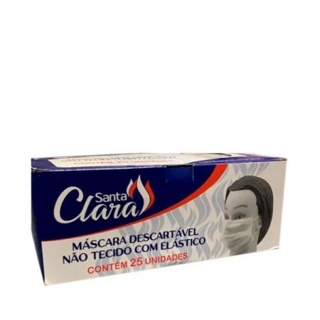 Santa Clara Máscara Facial com Elástico Descartável Branca – 25 Unidades