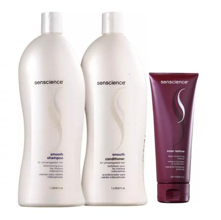 Senscience Smooth - Shampoo+Condicionador 1L+Mascara Inner Restore Deep Moisturizing 200ml