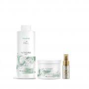 Wella Nutricurls Shampoo 1 Litro + Máscara 500 ml + Oil Reflections Light 30ml