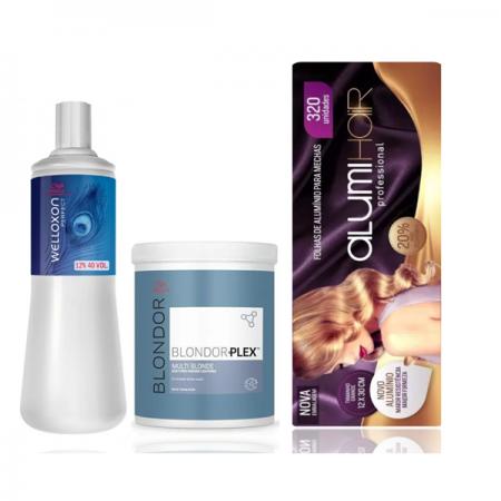 Wella Professionals Blondor Plex n°1 800g+Welloxon Perfect 12% 40V 1L+Folhas de Alumínio Alumi Hair 320 Un