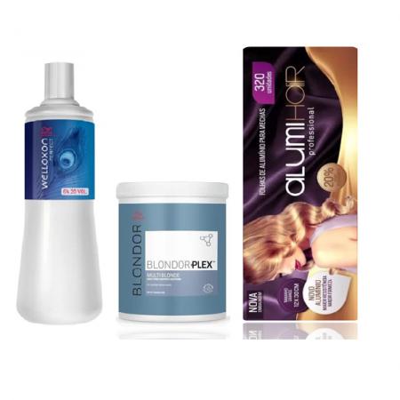 Wella Professionals Blondor Plex n°1 800g+Welloxon Perfect 6% 20V 1L+Folhas de Alumínio Alumi Hair 320 Un