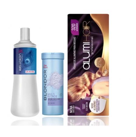 Wella Professionals Blondor Pó Descolorante 400g+Welloxon Perfect  12% 40V 1L+Folhas de Alumínio Alumi Hair 320 Un