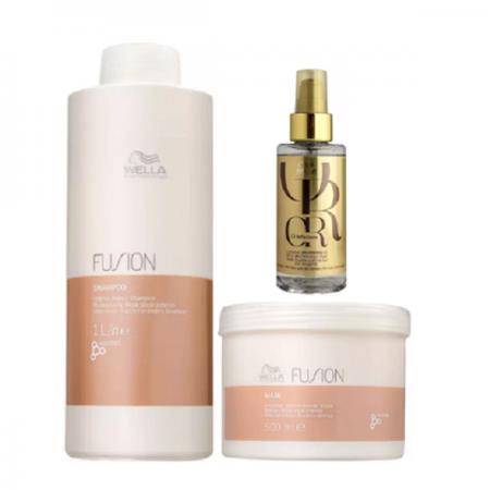 Wella Professionals Fusion Shampoo 1L+Mascara 500g+Oil Reflections 100ml
