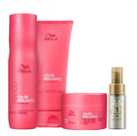 Wella Professionals Invigo Color Brilliance Shampoo 250ml+Condicionador 200ml+Mascara 150ml+Oil Reflections Light 30ml