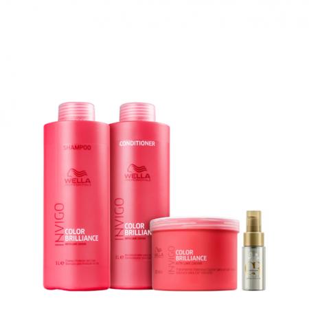 Wella Professionals Invigo Color Brilliance Shampoo+Condicionador 1L+Máscara 500g+Oil Reflections Light 30ml