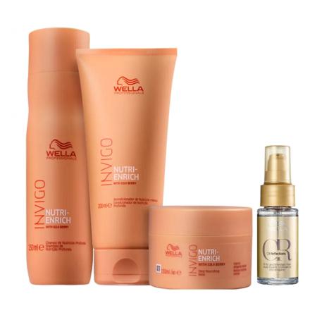 Wella Professionals Invigo Nutri-Enrich Shampoo 250ml+Condicionador 200ml+Mascara 150ml+Oil Reflections 30ml