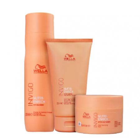 Wella Professionals Invigo Nutri-Enrich Shampoo 250ml+Mascara Express+Mascara Nutrição 150ml