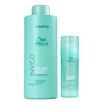 Wella Professionals Invigo Volume Boost Shampoo 1L+Crystal Mask 145ml