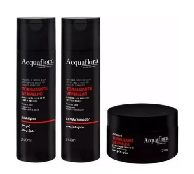 Acquaflora Manutenção Vermelho Shampoo+Condicionador 240ml+Mascara 250ml
