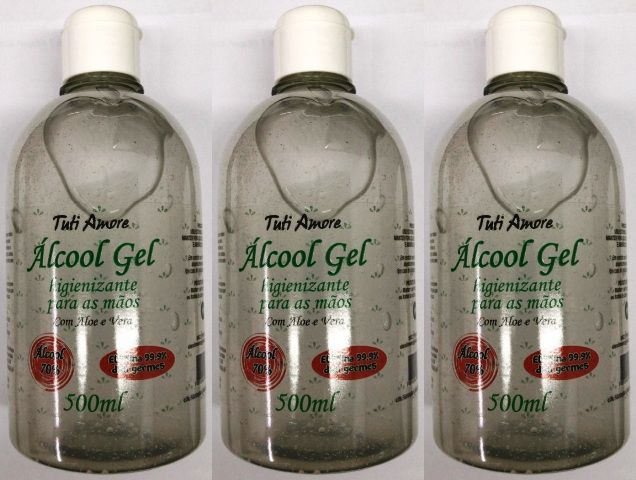 Álcool Gel 70 Antiséptico Tuti Amore C/ Aloe Vera 500G Caixa Com 3Unidades