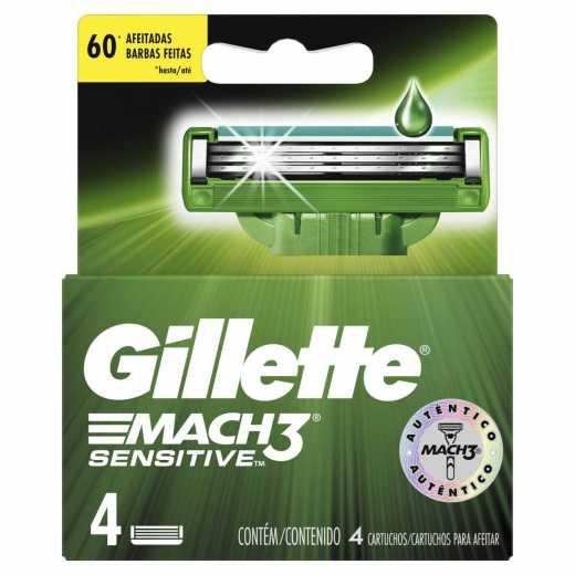 Carga Barbear Gillette MACH3 Sensitive C/4 Unidades