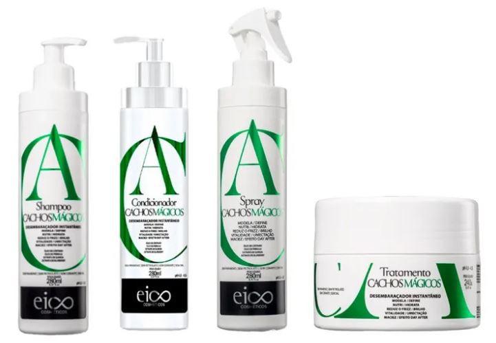 Kit Eico Cachos Mágicos - Shampoo e Condicionador + Máscara + Spray
