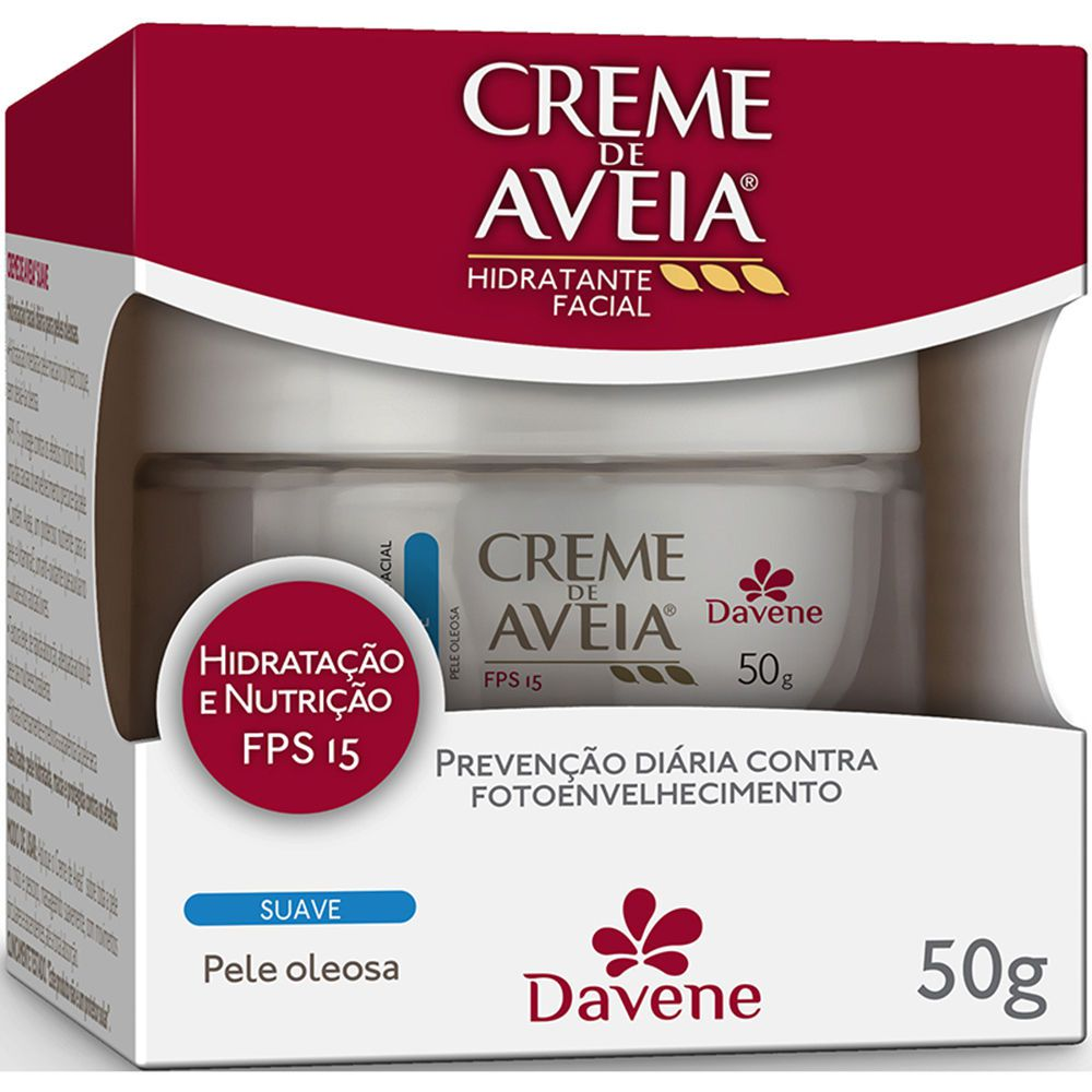 Creme Hidratante Facial Aveia Davene Suave Pele Oleosa Fps 15 50g