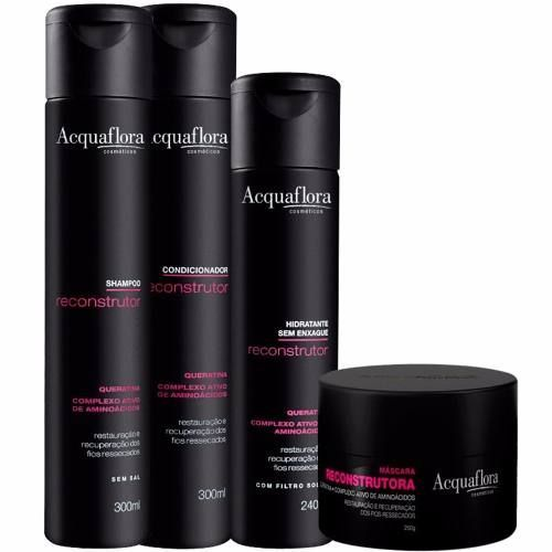 Acquaflora Reconstrutor Shampoo+Cond 300ml+Masc 250ml+Hidrat. s/ Enxague 240ml